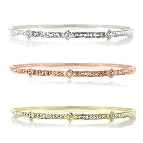 Silvertone Diamond Accent Rhodium-plated Bangle Cuff Bracelet