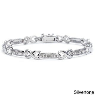 Link to Silvertone Diamond Accent Infinity Link Bracelet Similar Items in Bracelets