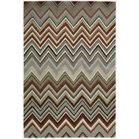 Nourison Hand-tufted Contours Zigzag Multicolor Rug (7'3 x 9'3)
