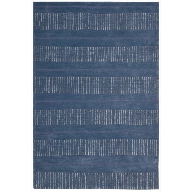 Nourison Hand-tufted Contours Striped Denim Rug (7'3 x 9'3)