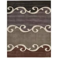 Nourison Hand tufted Contours Mocca Rug - 7'3 x 9'3