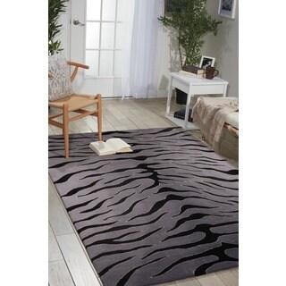 Nourison Hand-tufted Contours Animal Print Black Grey Rug (7'3 x 9'3)