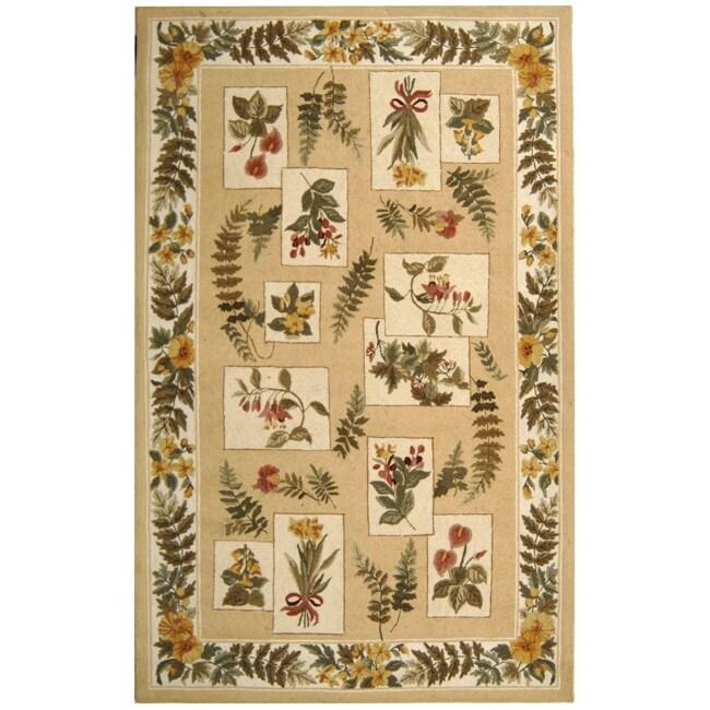 "Safavieh Hand-hooked Chelsea Floral Ivory Wool Rug - 7'9"" x 9'9"""