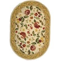 "Safavieh Hand-hooked Chelsea Gardens Ivory Wool Rug - 7'6"" x 9'6"" oval"