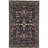 Safavieh Hand-hooked Chelsea Irongate Black Wool Rug - 7'6 x 9'9