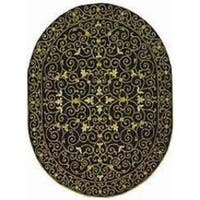 "Safavieh Hand-hooked Chelsea Irongate Black Wool Rug - 7'6"" x 9'6"" oval"