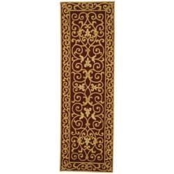Safavieh Hand-hooked Chelsea Irongate Burgundy Wool Rug (2'6 x 10')
