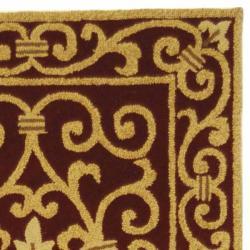 Safavieh Hand-hooked Chelsea Irongate Burgundy Wool Rug (2'6 x 12') - Thumbnail 1