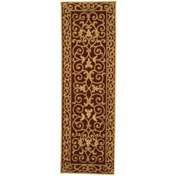 Safavieh Hand-hooked Chelsea Irongate Burgundy Wool Rug (2'6 x 12')
