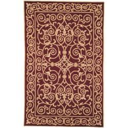 Safavieh Hand-hooked Chelsea Irongate Burgundy Wool Rug (3'9 x 5'9)