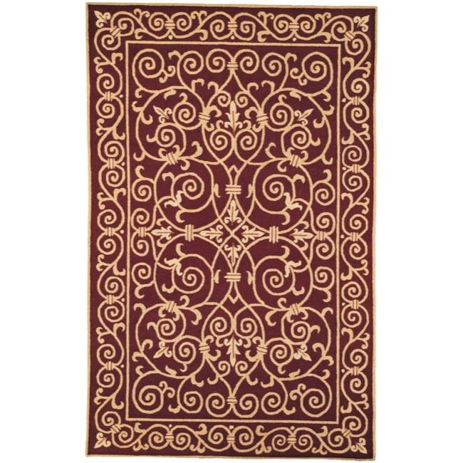 Safavieh Hand-hooked Chelsea Irongate Burgundy Wool Rug (5'3 x 8'3)