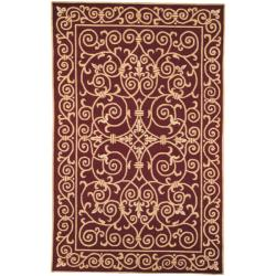 Safavieh Hand-hooked Chelsea Irongate Burgundy Wool Rug - 5'3 x 8'3 - Thumbnail 0