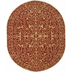 Safavieh Hand-hooked Chelsea Irongate Burgundy Wool Rug (4'6 x 6'6 Oval)