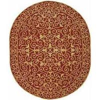"Safavieh Hand-hooked Chelsea Irongate Burgundy Wool Rug - 4'6"" x 6'6"" oval"