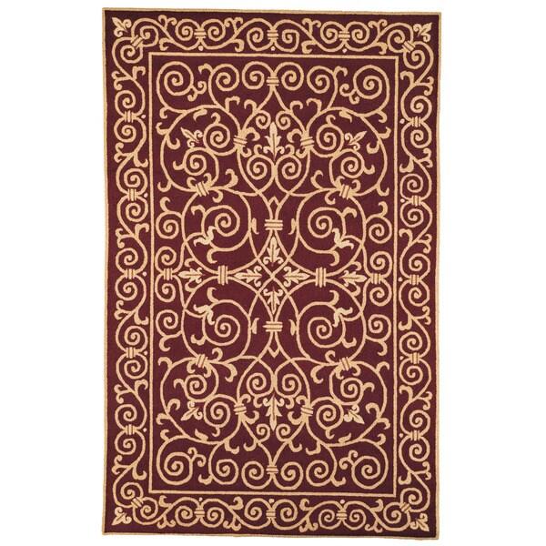 Safavieh Hand-hooked Chelsea Irongate Burgundy Wool Rug - 7'6 x 9'9