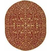 "Safavieh Hand-hooked Chelsea Irongate Burgundy Wool Rug - 7'6"" x 9'6"" oval"