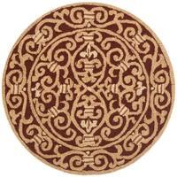 Safavieh Hand-hooked Chelsea Irongate Burgundy Wool Rug - 3' x 3' round