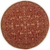 Safavieh Hand-hooked Chelsea Irongate Burgundy Wool Rug - 4' x 4' Round