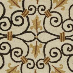 Safavieh Hand-hooked Chelsea Irongate Ivory Wool Rug (8' Round) - Thumbnail 2