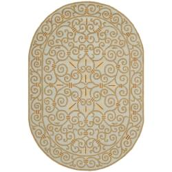 Safavieh Hand-hooked Chelsea Irongate Light Blue Wool Rug (4'6 x 6'6 Oval)