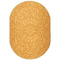 Safavieh Hand-hooked Chelsea Irongate Ivory/ Gold Wool Rug (4'6 x 6'6 Oval)