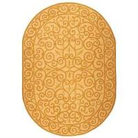 """Safavieh Hand-hooked Chelsea Irongate Ivory/ Gold Wool Rug - 4'6"""" x 6'6"""" oval"""