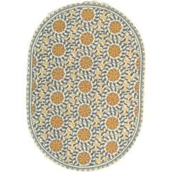 Safavieh Hand-hooked Chelsea Bliss Ivory Wool Rug (7'6 x 9'6 Oval)