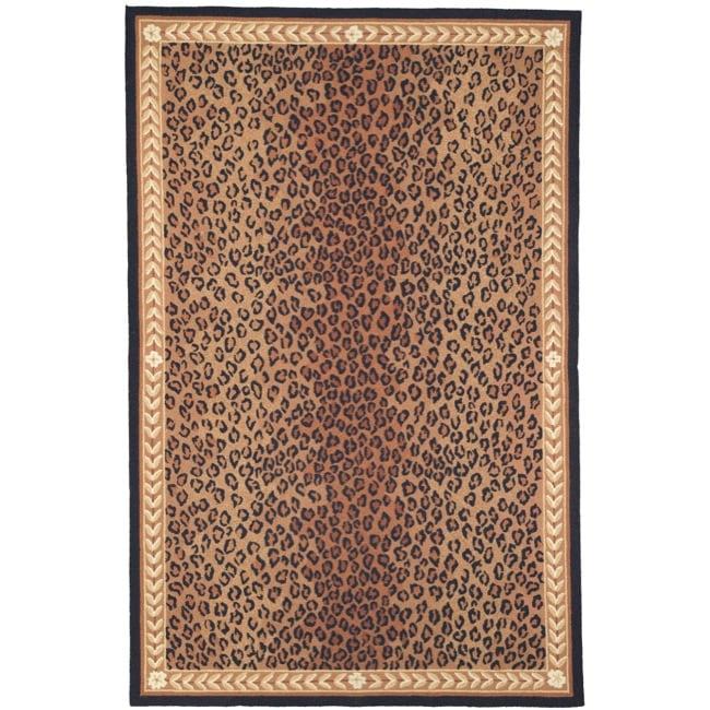 Safavieh Hand-hooked Chelsea Leopard Brown Wool Rug (5'3 x 8'3)