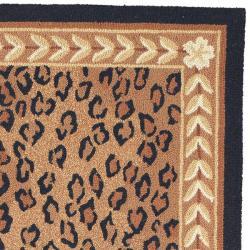 Safavieh Hand-hooked Chelsea Leopard Brown Wool Rug (5'3 x 8'3) - Thumbnail 1