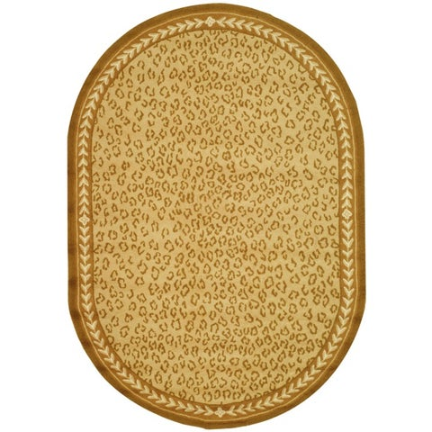 "Safavieh Hand-hooked Chelsea Leopard Ivory Wool Rug - 7'6"" x 9'6"" Oval"