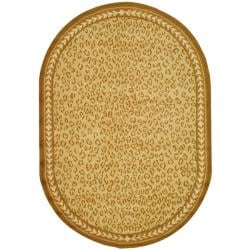 Safavieh Hand-hooked Chelsea Leopard Ivory Wool Rug (7'6 x 9'6 Oval)