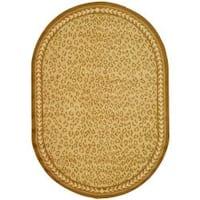 "Safavieh Hand-hooked Chelsea Leopard Ivory Wool Rug - 7'6"" x 9'6"" oval"