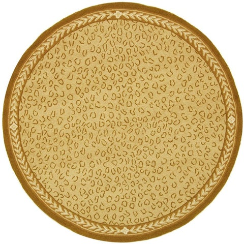 Safavieh Hand-hooked Chelsea Leopard Ivory Wool Rug - 3' x 3' Round