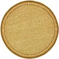 Safavieh Hand-hooked Chelsea Leopard Ivory Wool Rug - 4' x 4' Round