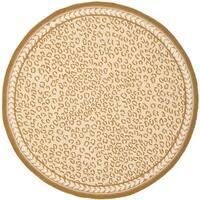 "Safavieh Hand-hooked Chelsea Leopard Ivory Wool Rug - 5'6"" x 5'6"" round"