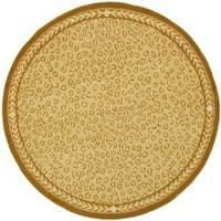 Safavieh Hand-hooked Chelsea Leopard Ivory Wool Rug - 8' x 8' Round