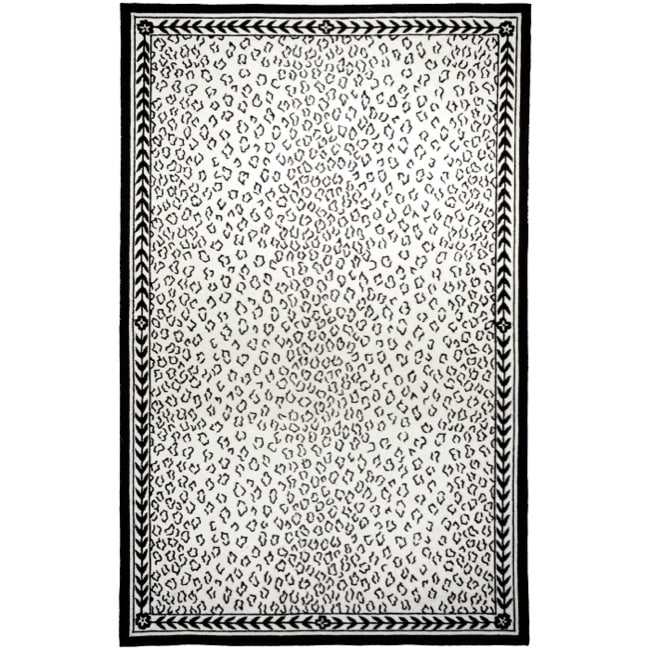 Safavieh Hand-hooked Chelsea Leopard White Wool Rug (6' x 9')