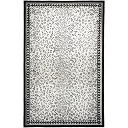 Safavieh Hand-hooked Chelsea Leopard White Wool Rug (7'6 x 9'9)