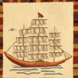 Safavieh Hand-hooked Chelsea Sail Boat Ivory Wool Rug (2'9 x 4'9)