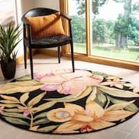 Safavieh Hand-hooked Paradise Black Wool Rug - 8' x 8' Round