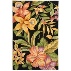 Safavieh Hand-hooked Paradise Black Wool Rug - 7'6 x 9'9 - Thumbnail 0