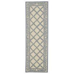 Safavieh Hand-hooked Trellis Ivory/ Light Blue Wool Rug (2'6 x 12')