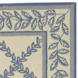 Safavieh Hand-hooked Trellis Ivory/ Light Blue Wool Rug (2'6 x 6') - Thumbnail 1
