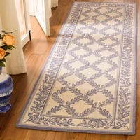 "Safavieh Hand-hooked Trellis Ivory/ Light Blue Wool Rug - 2'6"" x 6' Runner"