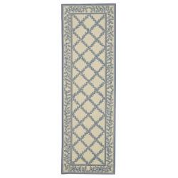 Safavieh Hand-hooked Trellis Ivory/ Light Blue Wool Rug (2'6 x 8')
