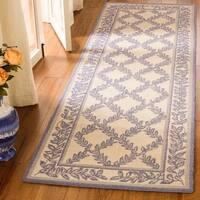 """Safavieh Hand-hooked Trellis Ivory/ Light Blue Wool Rug - 2'6"""" x 8'"""
