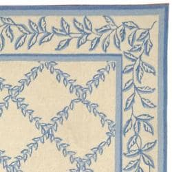 Safavieh Hand-hooked Trellis Ivory/ Light Blue Wool Rug (5'3 x 8'3) - Thumbnail 1