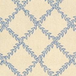 Safavieh Hand-hooked Trellis Ivory/ Light Blue Wool Rug (5'3 x 8'3) - Thumbnail 2