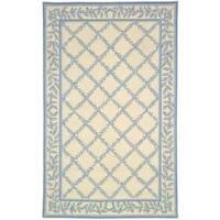 Safavieh Hand-hooked Trellis Ivory/ Light Blue Wool Rug - 6' x 9'