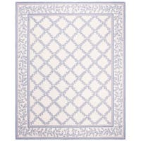 """Safavieh Hand-hooked Trellis Ivory/ Light Blue Wool Rug - 8'-9"""" x 11'-9"""""""